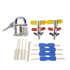 Slotted Practice Padlock + Single Hook Pick Tool + Padlock Shims + Double Heads Comb Style Lock Pick