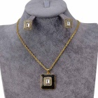 Retro Square Style Crystal Pendant Necklace for Women - Golden + Black