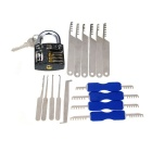 Practice Padlock + Single-Hook Pick Tools + Comb Style Lock Picks Set