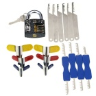 Slotted Practice Padlock + Padlock Shims +Comb Style Lock Picks Tool Set - Black + Silver