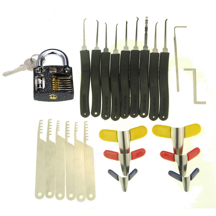 Slotted Practice Padlock Advanced 9-Piece Lock Picks Set