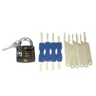 Slotted Practice Padlock + 1 Key + Double Heads Comb + Single Head Comb Stainless Steel Lock Picks
