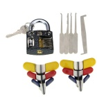 Practice Padlock + Single-Hook Lock Pick Tools + Padlock Shims Set