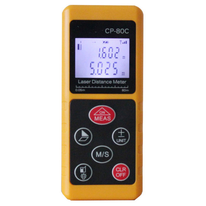 CPTCAM CP-80C Portable Handheld 80m Laser RangefinderLaser Rangefinder, Electronic Distance Meter<br>Form ColorOrange + Black + Multi-ColoredModelCP-80CQuantity1 DX.PCM.Model.AttributeModel.UnitMaterialABSDetection Range0.05~80mMeasuring Accuracy+/-1.5mmDisplay1.5Powered ByAAA BatteryBattery included or notNoPacking List1 x Laser rangefinder (2 x AAA batteries, not included)<br>