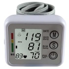 "2.1"" LCD Digital Automatic Wrist Style Blood Pressure Monitor w/ Voice Function - White + Light Grey"