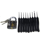 Slotted Practice Padlock + Advanced Lock Picks Set - Black + Silver