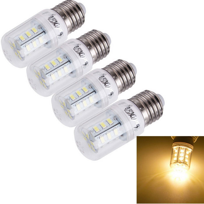 YouOKLight E27 5W LED Corn Bulb Lamp Warm White 3000K 24-SMD (4PCS )E27<br>Form  ColorWhiteColor BINWarm WhiteModelYK1151MaterialAL + PCQuantity1 DX.PCM.Model.AttributeModel.UnitPower5WRated VoltageAC 110 DX.PCM.Model.AttributeModel.UnitConnector TypeE27Chip BrandOthers,N/AEmitter TypeOthers,5730Total Emitters24Theoretical Lumens500 DX.PCM.Model.AttributeModel.UnitActual Lumens480 DX.PCM.Model.AttributeModel.UnitColor Temperature3000KDimmableNoBeam Angle360 DX.PCM.Model.AttributeModel.UnitPacking List4 x Bulbs<br>