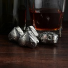 Wine Whiskey Drink Chiller Stones Ice Cubes - Silver (Heart / 4PCS)