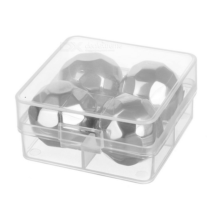 Wine Whiskey Drink Chiller Stones Ice Cubes Silver