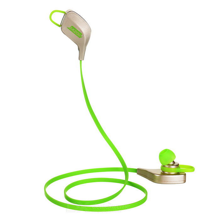 Fashion Stereo In-Ear Bluetooth Earphones w/ Mic. - Green + Gold