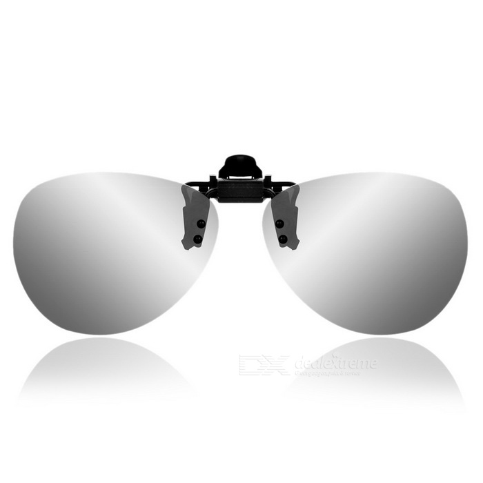 Stylish Resin Clip-on Polarized Frameless Sunglasses - Silver White