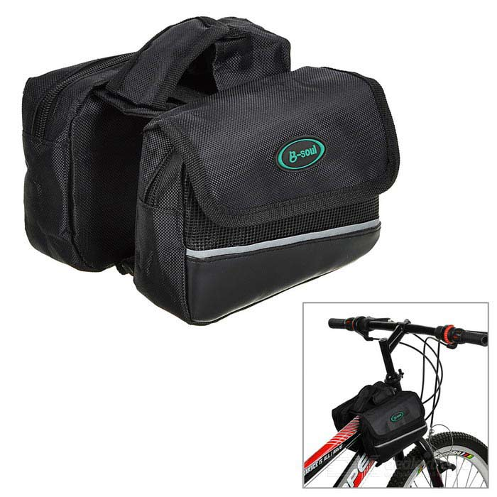 B-SOUL YA028 Water-Resistant Bicycle Bike Top Tube Saddle Bag - Black