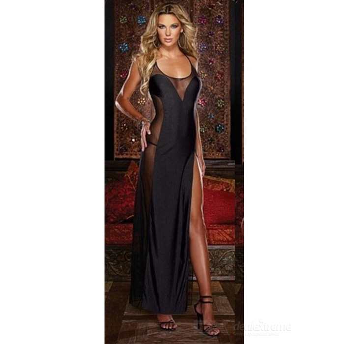 Women's Sexy See-Through Maxi Nightdress Lingerie w/ Thong - Black