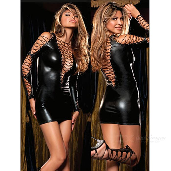 Women's Sexy Bundled Straps Strappy Mini Dress Nightdress - Black