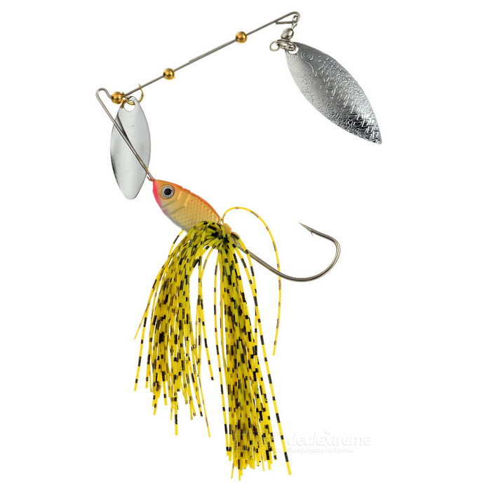 FURA Willow Blades Sequins Fishing Spinner Lure Spinnerbait - Yellow