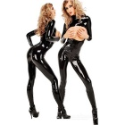 Women's Open Breasts Zippered Long-Sleeve Bodysuit Lingerie - Black