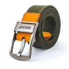 NORSSOV Canvas + Cow Leather Webbing Belt w/ Pin Buckle - Army Green (110cm)