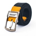 NORSSOV Men's Canvas Webbing Leather Belt w/ Buckle - Black (125cm)