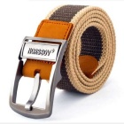 NORSSOV Men's Canvas Webbing Leather Belt w/ Buckle - Khaki + Brown (125cm)