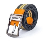 NORSSOV Canvas + Cow Leather Webbing Belt w/ Pin Buckle - Green + Yellow (110cm)