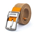 NORSSOV Canvas + Cow Leather Webbing Belt w/ Pin Buckle - Khaki (110cm)