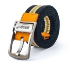 NORSSOV Canvas + Cow Leather Webbing Belt w/ Pin Buckle - Black + Yellow (110cm)