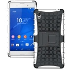TPU + PC Armor Stand Case for Sony Xperia M4 Aqua - White + Black