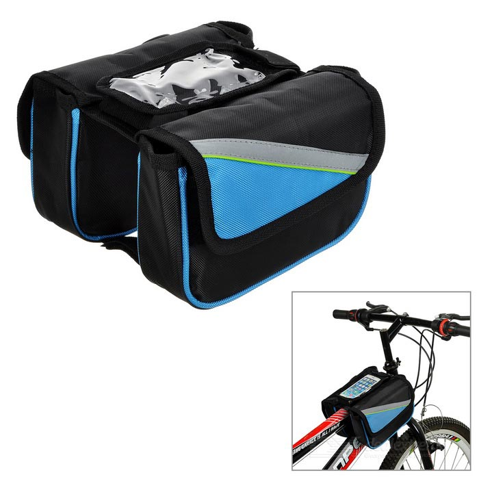 INBIKE IBCB0007 Cycling Oxford Bike Top Tube Double Saddle Bag - Black