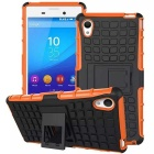 TPU + PC Armor Stand Case for Sony Xperia M4 Aqua - Orange + Black