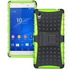 TPU + PC Armor Stand Case for Sony Xperia M4 Aqua - Green + Black