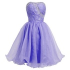BAITUYA Women's Short / Mini Strapless Beaded Lavender Organza Cocktail Dresses - Lavender (M)