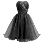 BAITUYA Women's Short / Mini Strapless Beaded Black Organza Cocktail Dresses - Black (XXL)