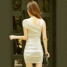 Women's One-Shoulder Cotton + Nylon Tight Elastic Dress - Wheat Yellow
