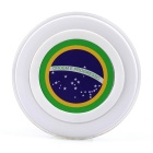 Brazil National Flag Pattern S6 QI Standard Wireless Charger for Smartphones - White