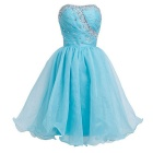 BAITUYA Women's Short / Mini Strapless Beaded Blue Organza Cocktail Dresses - Blue (M)