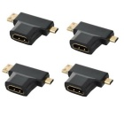 - 3 en 1 HDMI hembra a adaptador macho Mini HDMI macho + Micro HDMI - negro ( 4 PCS )