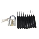 Transparent Slotted Practice Padlock + Advanced Lock Picks Set