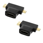 Micro HDMI / Mini HDMI Male to HDMI Female HD Converters - Black (2 PCS)