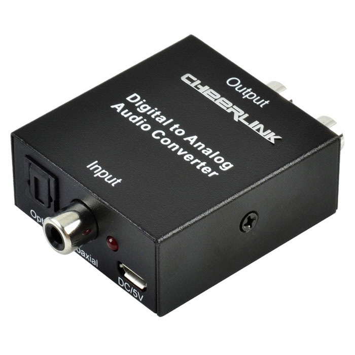 CHEERLINK Digital to Analog Audio Converter w/ EU Plug Adapter - BlackAV Adapters And Converters<br>Form ColorBlack + Silver + Multi-ColoredMaterialAluminum alloy + electronic componentsQuantity1 DX.PCM.Model.AttributeModel.UnitShade Of ColorBlackCable Length74.5 DX.PCM.Model.AttributeModel.UnitConnector3.5mm,Micro USB,Others,Toslink,Coaxial, R/L PortsPower AdapterOthers,USBPower Supply5V 500mACertificationFCC, CE, RoHSOther FeaturesInput audio: coaxial or optical digital audio. Output audio: R/L, 3.5mm audio. Sampling rate: 32, 44.1, 48 and 96KHz. R/L channel of S/PDIF: 24 bit. Max working current: 250mA. Operating temperature: -15 Celsius degree to +55 Celsius degree. Operating humidity: 5% to 90% RH (no condensation).Packing List1 x Converter1 x EU plug adapter (input: 100-240V 0.18A, output: 5V 500mA, 97cm)1 x English user manual<br>