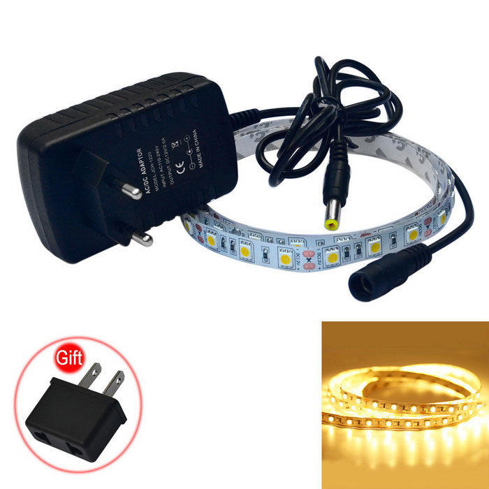 JIAWEN 15W LED Strip Lamp Warm White Light 3200K 1200lm 60-SMD (100cm)5050 SMD Strips<br>Form ColorWhiteColor BINWarm WhiteMaterialCircuit boardQuantity1 DX.PCM.Model.AttributeModel.UnitPowerOthers,15WRated VoltageDC 12 DX.PCM.Model.AttributeModel.UnitEmitter Type5050 SMD LEDTotal Emitters60Color Temperature3000-3200KWavelengthN/ATheoretical Lumens900-1200 DX.PCM.Model.AttributeModel.UnitActual Lumens900-1200 DX.PCM.Model.AttributeModel.UnitPower AdapterEU PlugPacking List1 x LED light strip (100cm±2cm)1 x EU plug  (AC110-240V,100cm-cable)1 x US Plug (Gift)<br>