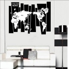 Creative Vintage Make Up Map Of The World Wall Sticker - Black + White
