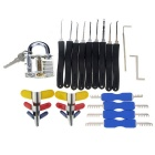 Slotted Practice Padlock + Advanced Lock Picks + Double Heads Comb Style Lock Picks Set
