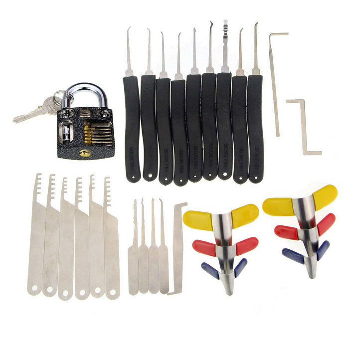 Practice Padlock + Padlock Shims + 9-Piece Lock Picks Set