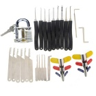 Transparent Slotted Practice Padlock  + Single Hook Pick + Comb Style Stainless Steel Lock Pick Set