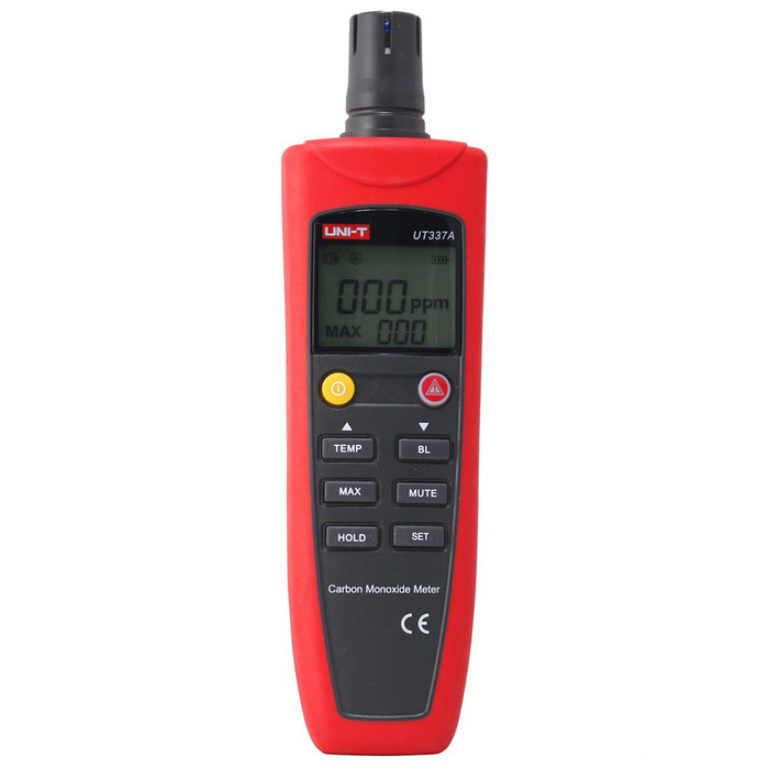 UNI-T UT337A Carbon Monoxide MetersTesters &amp; Detectors<br>Form  ColorRed + GreyModelUT337AQuantity1 DX.PCM.Model.AttributeModel.UnitMaterialABSScreen Size1.74 DX.PCM.Model.AttributeModel.UnitPowered ByAAA BatteryBattery Number4Battery included or notYesCertificationCEPacking List1 x Host4 x AAA batteries 1.5V1 x English manual<br>
