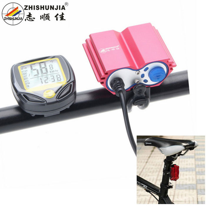 ZHISHUNJIA Bicycle Headlight / Wireless Mileage Counter - Red