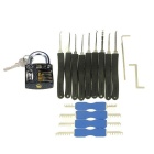 Slotted Practice Padlock + Advanced Lock Picks + Double Heads Comb Style Lock Pick
