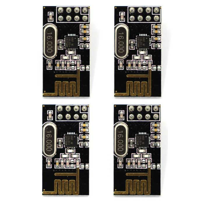 NRF24L01+ 2.4GHz Enhanced Wireless Modules - Black (4PCS)Transmitters &amp; Receivers Module<br>Form ColorBlackModelNRF24L01+Quantity1 DX.PCM.Model.AttributeModel.UnitMaterialFR4Frequency2.4GHzWorking Voltage   1.9~3.6 DX.PCM.Model.AttributeModel.UnitEnglish Manual / SpecNoDownload Link   http://pan.baidu.com/s/1sjHYdmHPacking List4 x Modules<br>