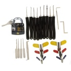 Practice Padlock + 9-Piece Lock Picks + Single-Hook Pick Tools + Padlock Shims Set