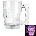 Water Sensing Colorful LED Light Acrylic Skull Pattern Beer Cup - Transparent (2 x CR2025 / 400ml)
